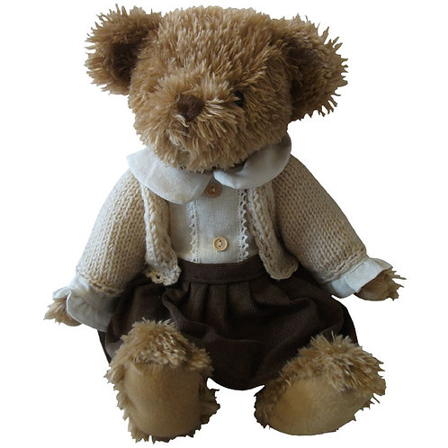 Teddy With Brown Cord Skirt And Cardigan