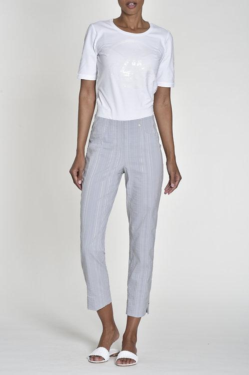 Robell Bella 7/8 Grey Seersucker Trousers
