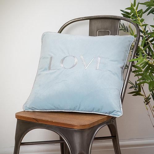 Soft Blue Velvet 'LOVE' Cushion