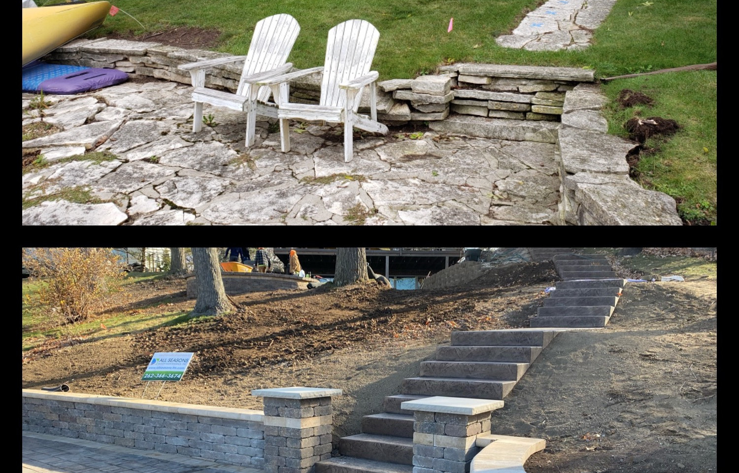 New Lakefront Patio Before and After