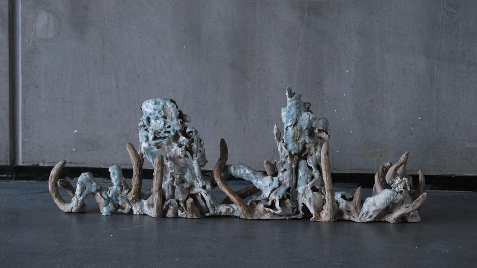 Ceramic Sculpture with blue Celadon glaze
