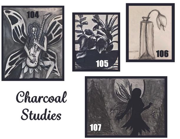 Charcoals Studies #s 104-107