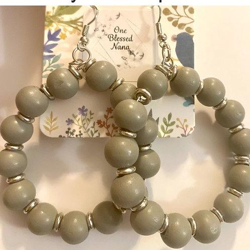 Gray Bead Hoop earrings