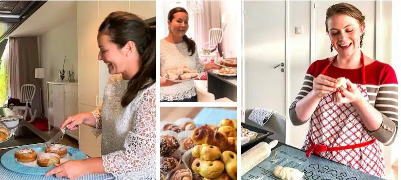 אישה מראה איך להכין עוגיות