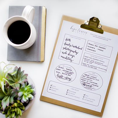 Personal branding guide flatlay small business marketing