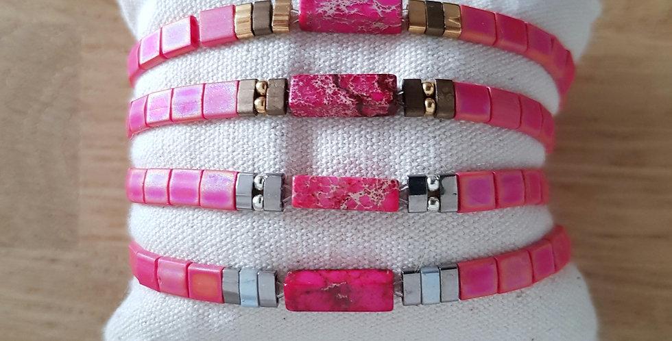 Bracelet Tila collection pink et pierre