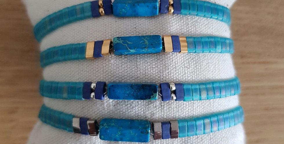 Bracelet Tila collection turquoise foncé et pierre