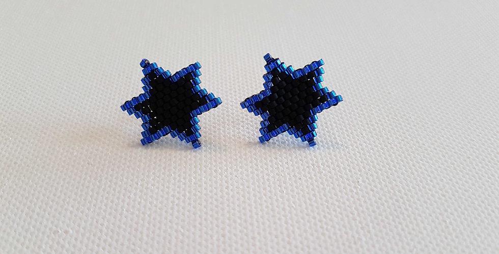 """Boucles d'oreilles clous """"Star"""" blue and black"""