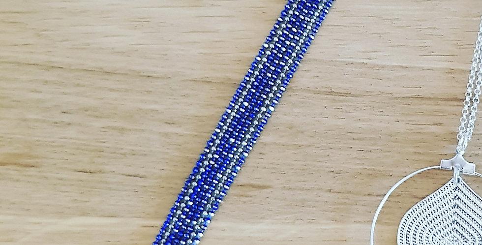 Bracelet microperlé version bleu