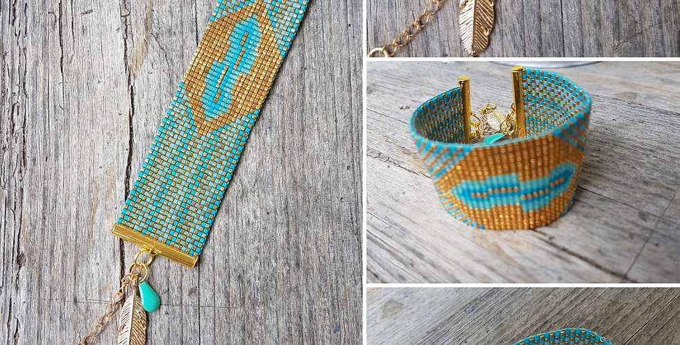 Manchette gold and turquoise