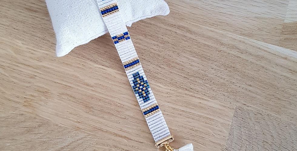 Bracelet Donia - bleu émeraude et blanc