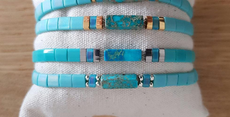 Bracelet Tila collection turquoise clair et pierre