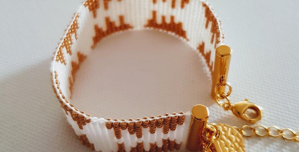 "Bracelet ""témoin"" White and gold"