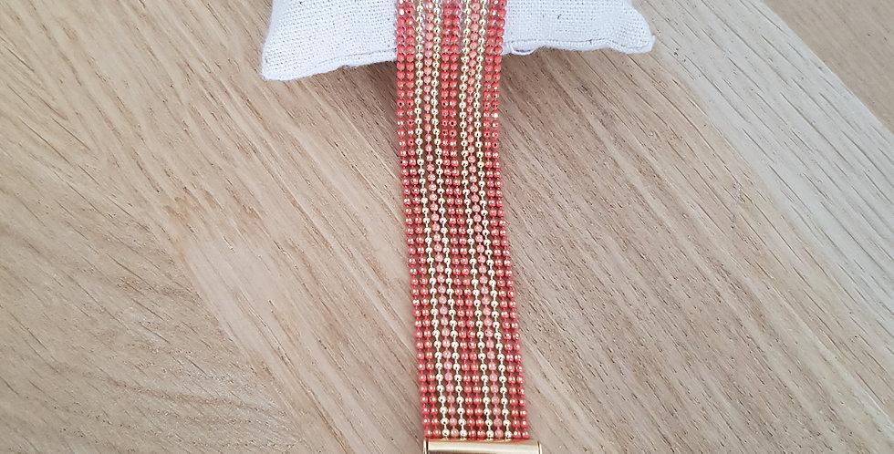 Bracelet Bérénice - medium - corail & doré