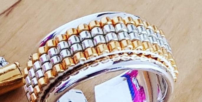 bague-tissage-perle-dore-argent