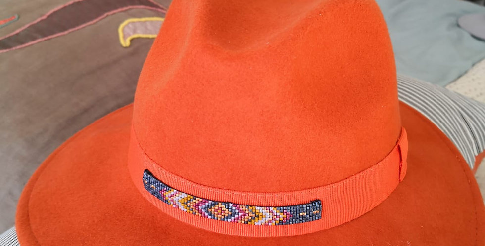 Chapeau Fedora orange et tissage ethnic