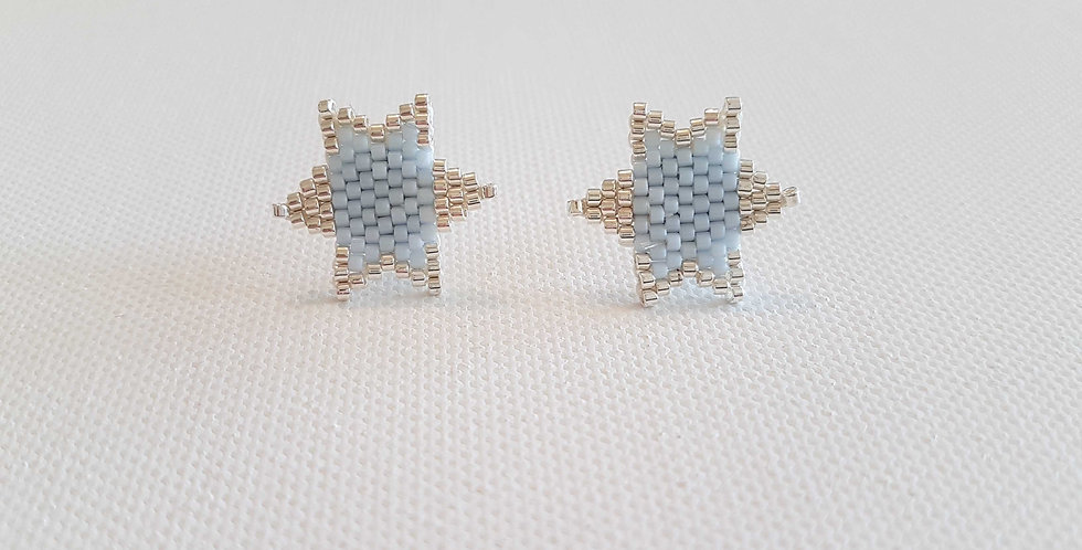 """Boucles d'oreilles """"Star"""" sky blue and silver"""