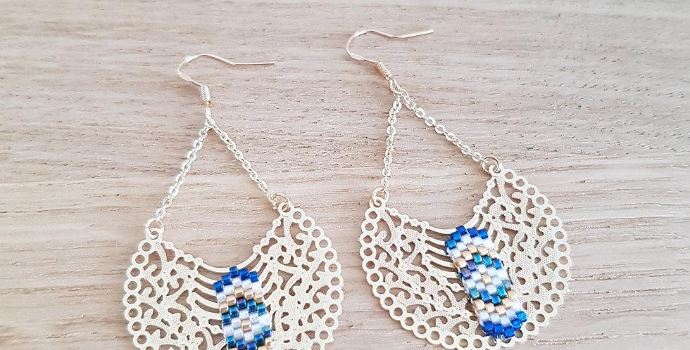 Boucles d'oreilles Inna - bleu émeraude