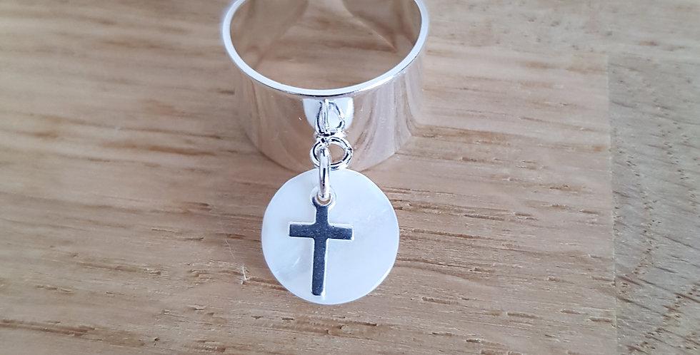 Bague Psi nacre et croix
