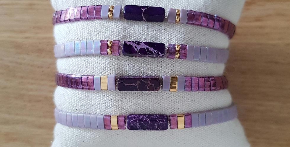 Bracelet Tila collection purple et pierre