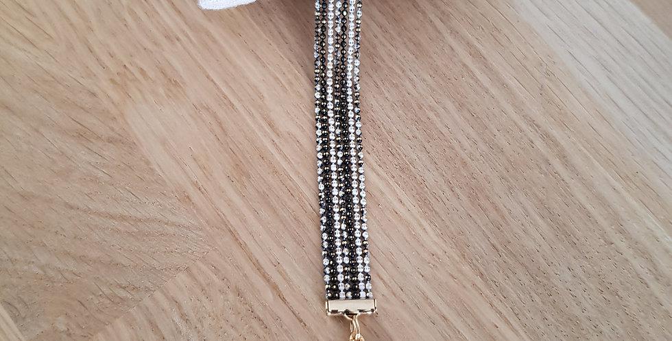 Bracelet Bérénice - small - black&white/doré