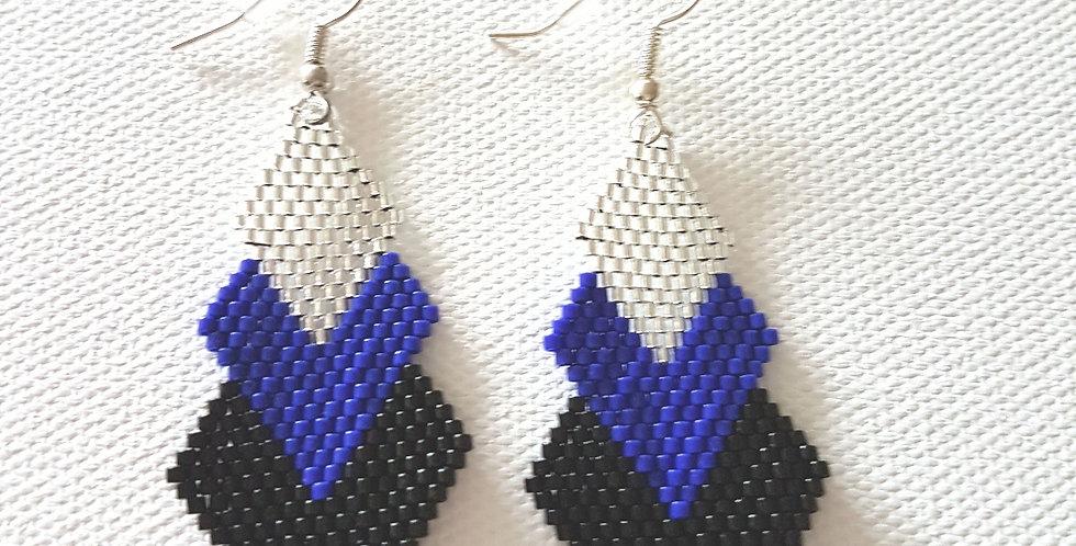 Boucles d'oreilles 3 losanges argent/bleu/noir