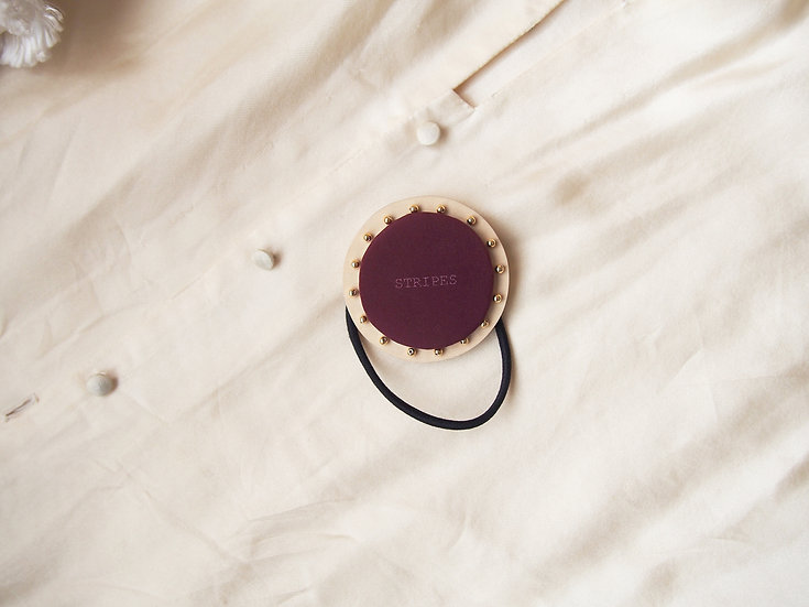 CIRCLE HAIR ELASTIC【S size】 ~ matte burgundy × gold beads