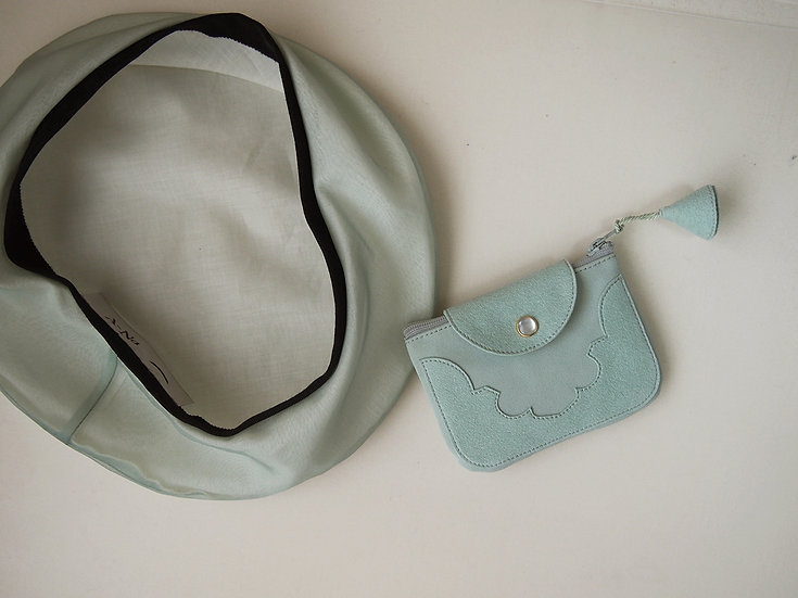 temple coin purse < opal green >【 受注生産 】