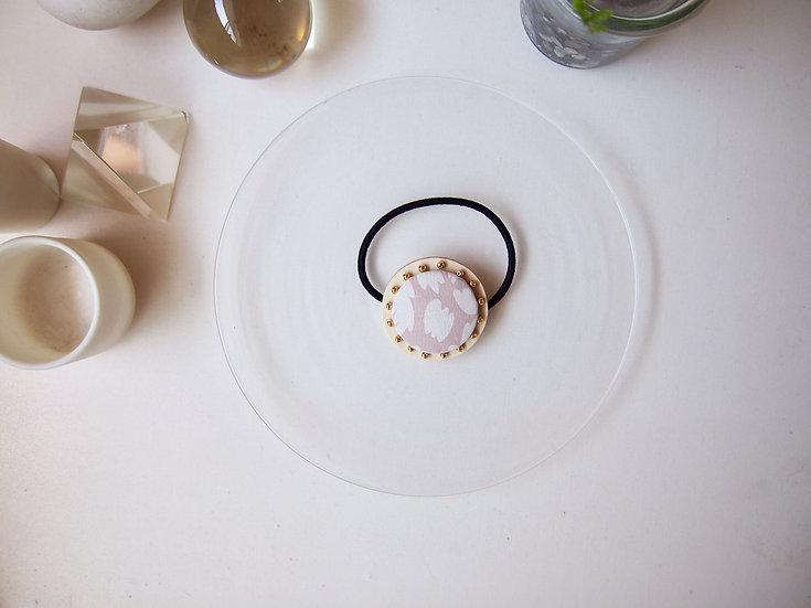 【SS size】 smokey pink × gold beads ~ CIRCLE HAIR ELASTIC