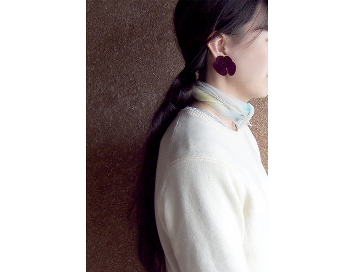 「 LEOPATCH ear accessory 」 ~ burgundy velveteen A ~ (片耳)