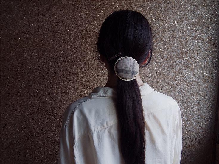 【L size】 CIRCLE HAIR ELASTIC ~ kimono fabric × silver beads