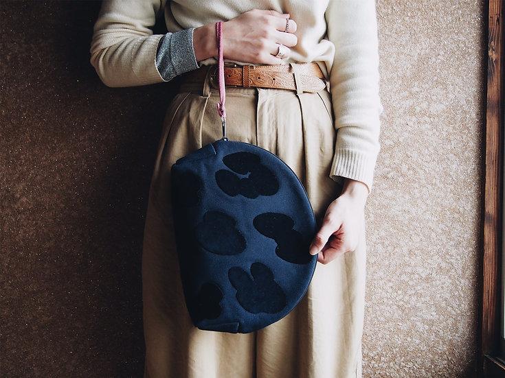 "LEOPATCH CLUTCH BAG ""L"" <navy>【 受注生産 】"