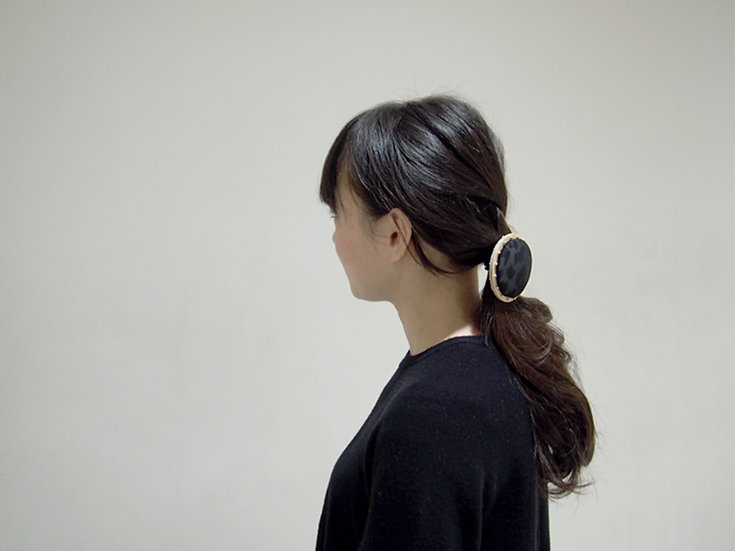 CIRCLE HAIR ELASTIC【Lsize】~black / leopard