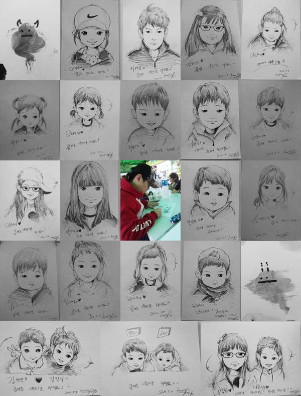 철도 박물관에서 아이들을 위한 캐릭커쳐