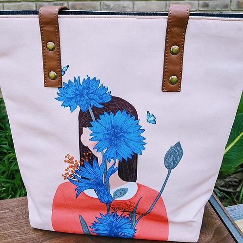 Beige Printed Tote Bag