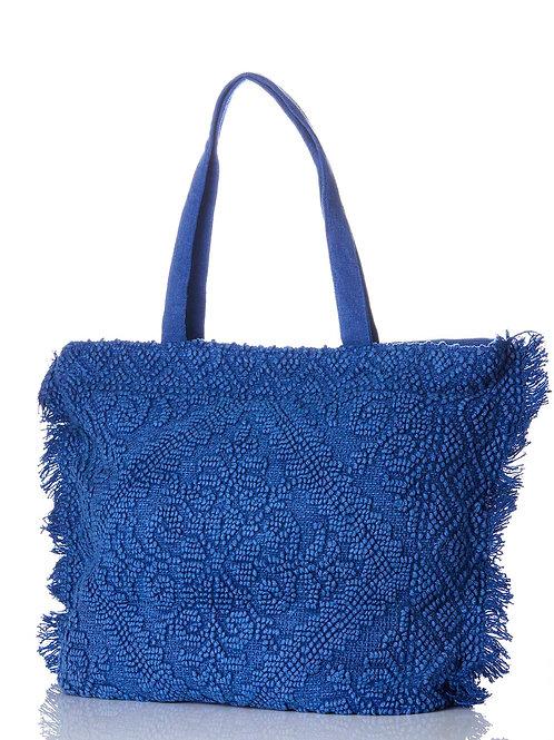 TOTE BAG: Large Blue Textured Fringe Tote Bag