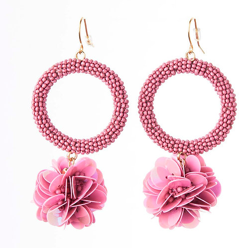 Sequined Floral Drop Earrings