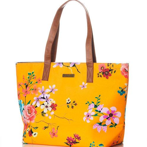TOTE BAG:  Bright Yellow/Orange Printed Canvas