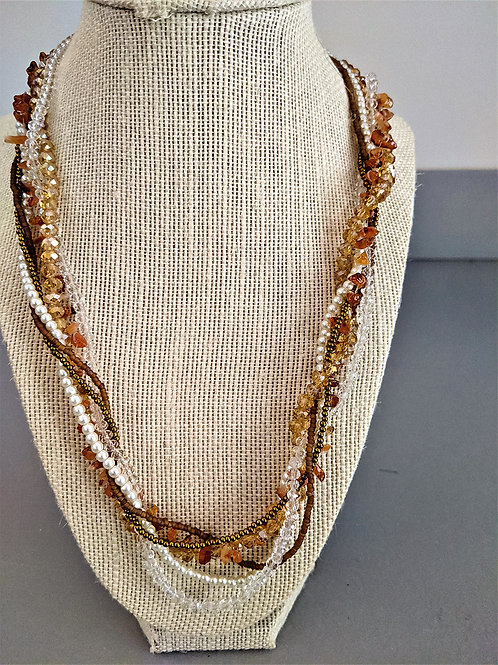 Gorgeous Multi-Strand Necklace with Beads, Pearls, Stones.