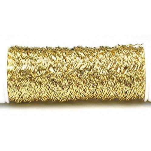 """חוט שזירה ממתכת מצופה בצבע מטלי צורת זיגזג בעובי 0.3 מ""""מ מארז 100 גרם תוצרת גרמנ"""