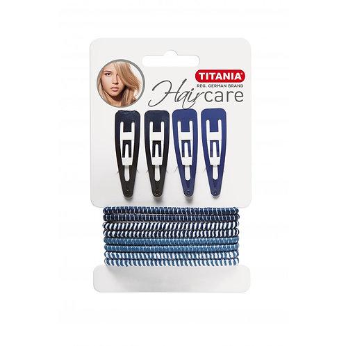 סט 8 גומיות לשיער + 4 סיכות בצבע כחול ותכלת