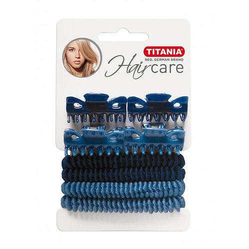 סט 4 גומיות + 4 קליפסים לשיער בצבע כחול ותכלת