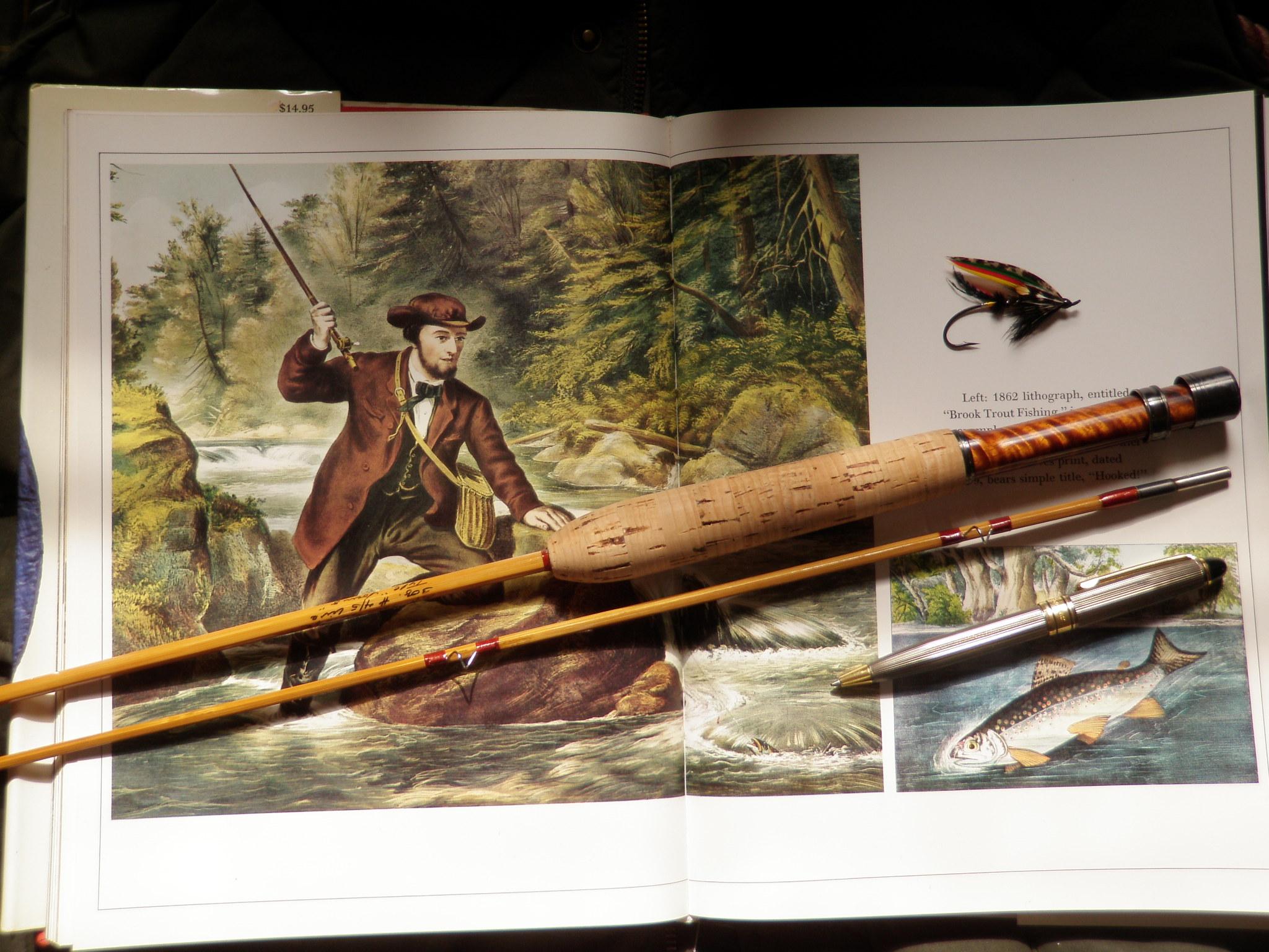Classic print, cane rod, salmon fly.