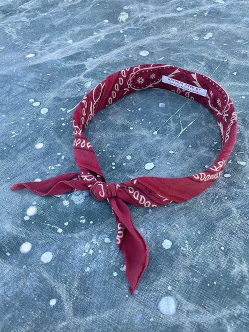 Mud Dyed Neck Tie Bandana Wine Red