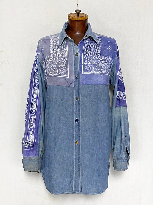 Distressed Work Shirts Patched w/ Paisley Bandana