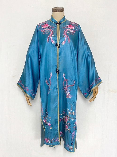 VINTAGE 1950's Chinese Embroidered Silk Robe