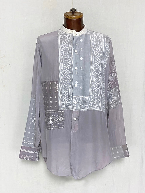 1920's Silk Shirts Mended w/ Paisley Bandana