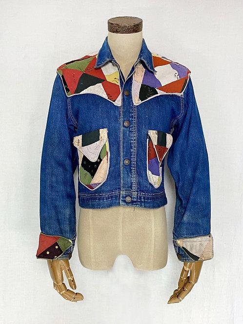 VINTAGE 1960's Patchwork Custom Jean Jacket