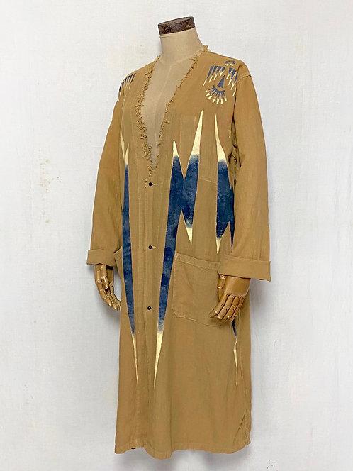 Hand Painted Thunder Bird Linen Coat