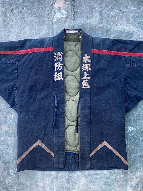 Japanese indigo fireman jacket w/military liner, No2